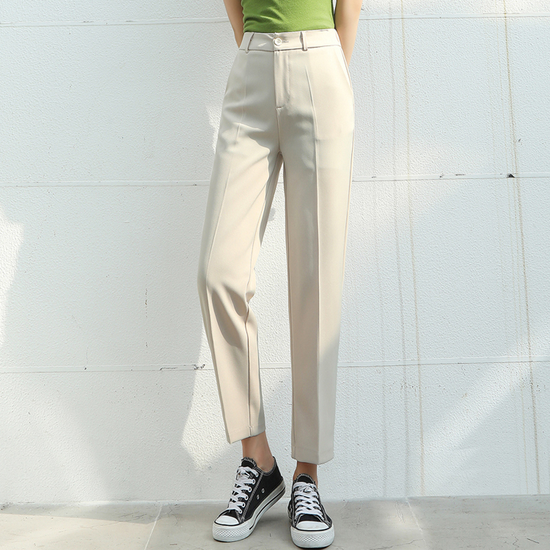 New 2020 Spring Summer Elegant Women High Waist Suit Pants Solid Casual Loose Long Pants Office Lady Straight Female Trousers