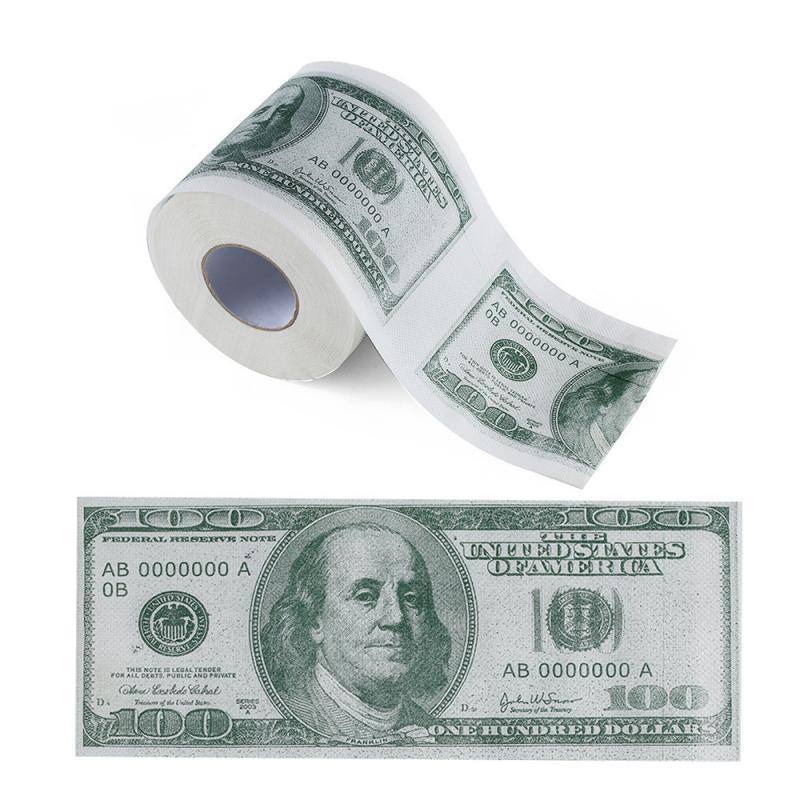 $100 Dollar Humour Toilet Paper Bill Toilet Paper Roll Novelty Gag Gift Prank Funny Dollar Bill Toilet Roll Paper Dollar Bill 1