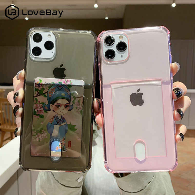 Lovebay Clear Airbag Shockproof Phone Case For iPhone 11 Pro X XR XS Max 8 7 6 6s Plus Candy Color ID Credit Card Soft TPU Cover