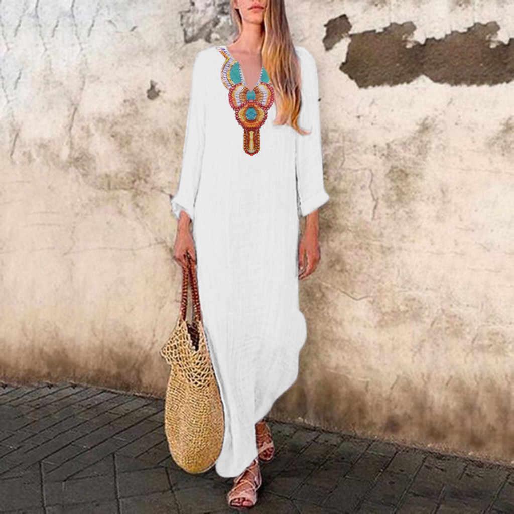 Chamsgend vestido maxi feminino boho impresso manga comprida com decote em v vestido com decote em v split hem baggy kaftan vestido longo solto vestidos f217