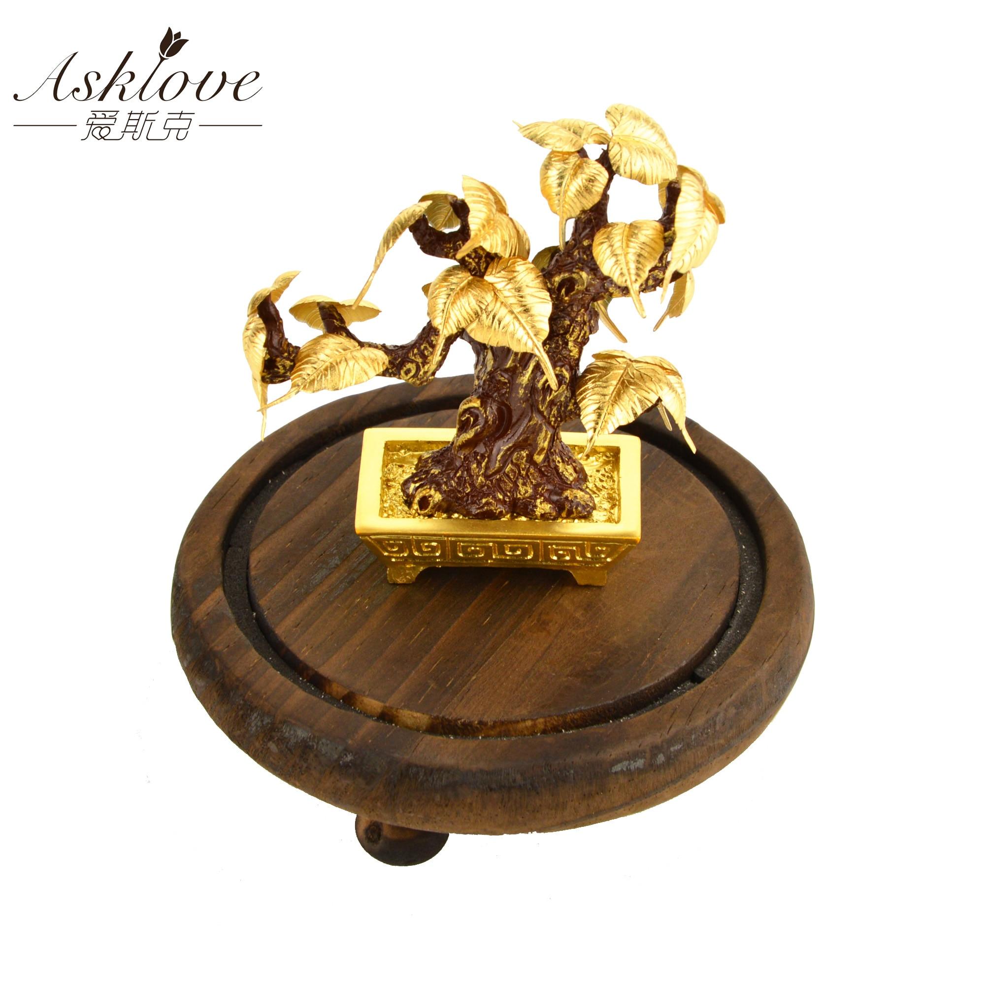 Bodhi arbre bonsaï Feng shui décor chanceux richesse ornement 24k feuille d'or Bodhi feuille décorations de bureau cadeaux maison bureau décoration
