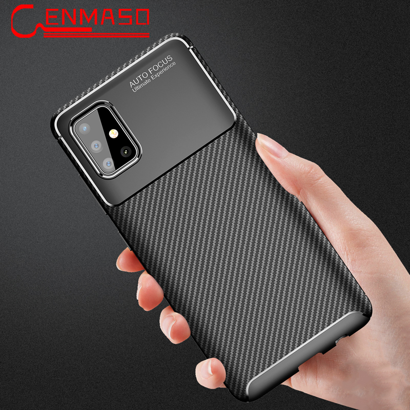 For Samsung A51 Case Carbon Fiber TPU Soft Cover For Samsung Galaxy A51 A71 A91 A50 S10 Lite S20 Ultra Note 20 10 Plus Back Case