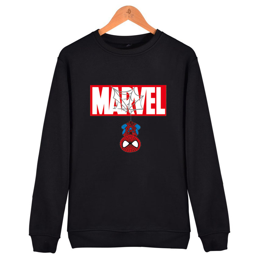 2019  Women Autumn Fleece Marvel Spiderman Print Pullover Hoodie Thick Loose Woman Hoodies Sweatshirt Ladies Casual Coat Clothes
