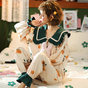 XIFER Sweet Cardigan Pajamas Women Spring Autumn Lapel Long-sleeved Pajamas Suit Doll Collar Ladies Combed Cotton Trend Homewear new spring autumn pajamas women s cotton jacquard ladies women s lolita pajamas set doll collar casual pajamas homewear