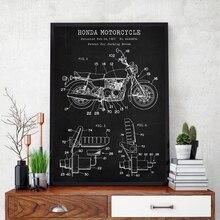 Vintage japonés motocicleta Blueprint patente cartel Motosport pared arte lienzo pintura hombre cueva decoración Biker regalo