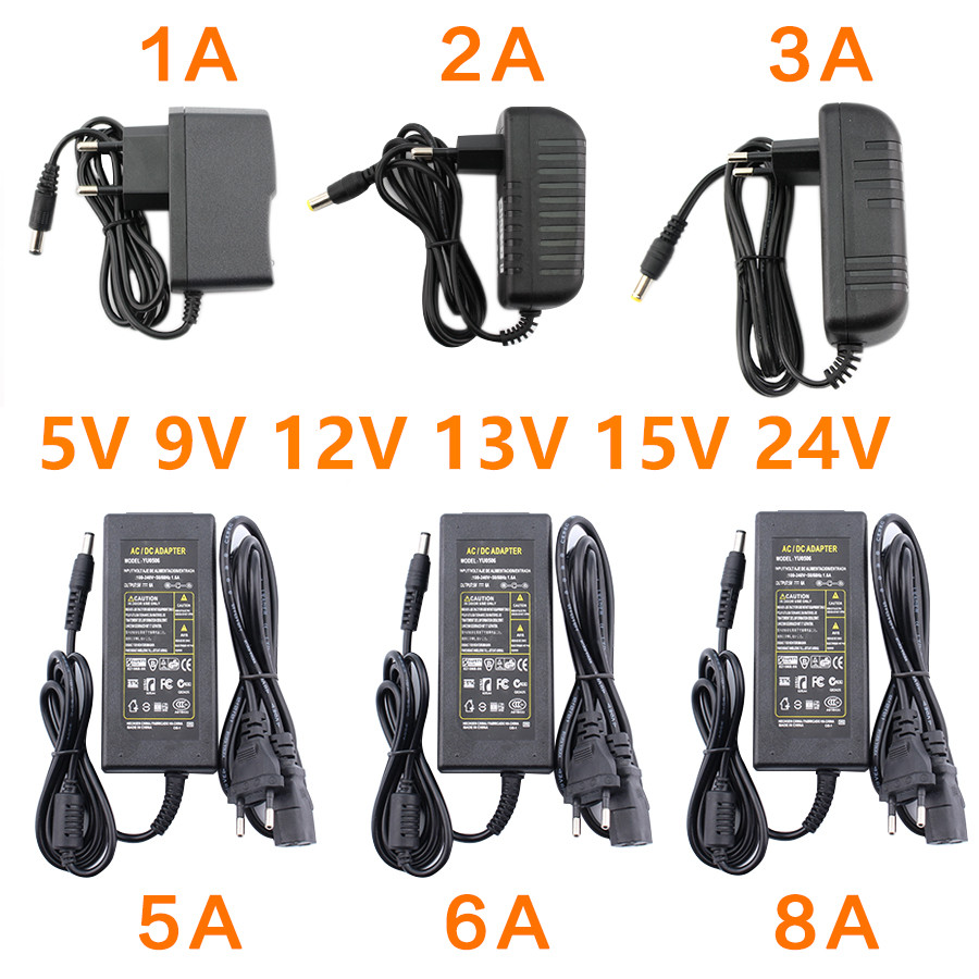 <font><b>AC</b></font> <font><b>DC</b></font> 5V 6V 9V 12V 13V 15V 24V Power Adapter Supply 1A 2A 3A <font><b>5A</b></font> 6A 8A Led 5V 9V 12V Power Supply Adapter <font><b>5</b></font> 12 24 V Volt Led Lamp image