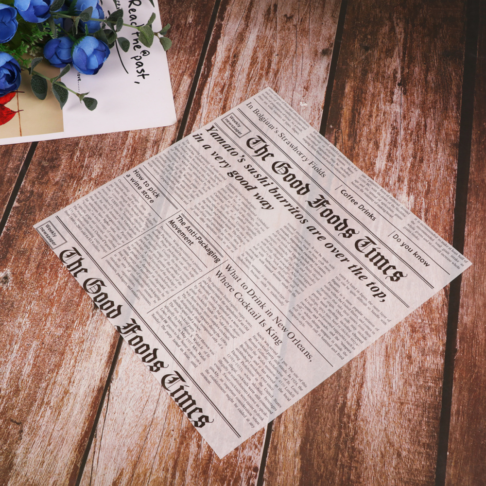 50 шт. моделирование новости Бумага Стиль Еда корзина одноразовые салфетки из обертывание хлеба ткани газетная бумага для выпечки Бумага ли...