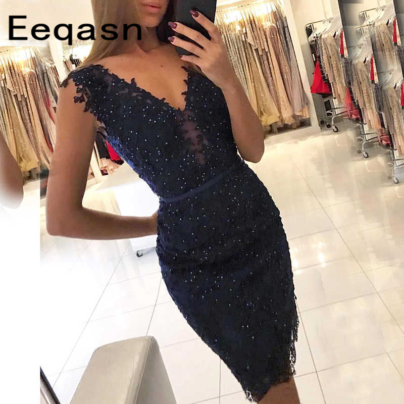 robe cocktail Navy Blue Lace Short Cocktail Dress 2020 V Neck Knee Length Hoco Dress Graduation Women Party Gown Custom