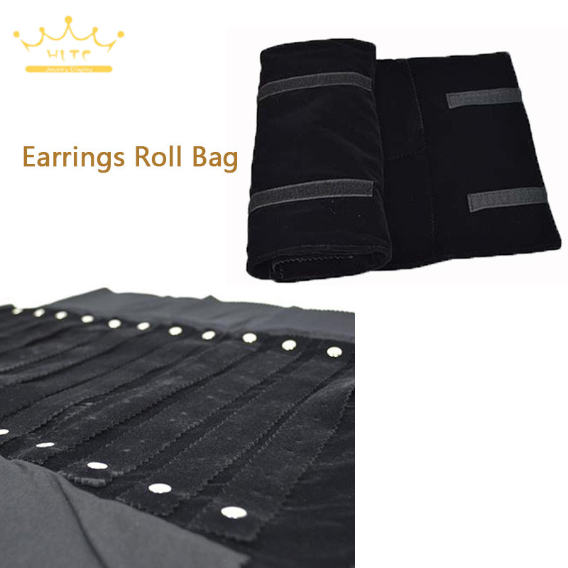 Travel Jewelry Roll Bag For 60 Pairs Of Earrings Jewelry Case Display Holder Stand Organizer Container Earring Storage Bag