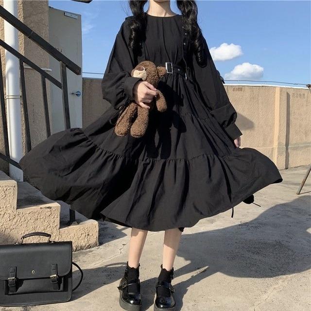 QWEEK Gothic Style Dress Women Harajuku Gothic Lolita Kawaii Dress Punk Cute Long Sleeve Black Midi Dress 2021 Emo Mall Goth 2