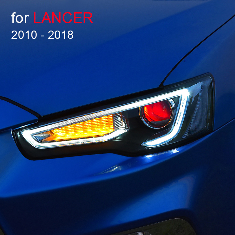 Headlight Assembly for <font><b>Mitsubishi</b></font> <font><b>Lancer</b></font> EVO <font><b>X</b></font> 2010 - 2018 Left and Right with <font><b>LED</b></font> DRL Running Light Sequential Turning Signal image