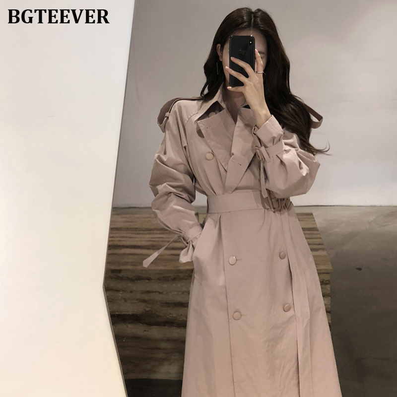Chic Double-Breasted Long Women Trench Coat With Belt Classical Lapel Collar Loose Windbreaker Autumn Winter Female Outwear 2019