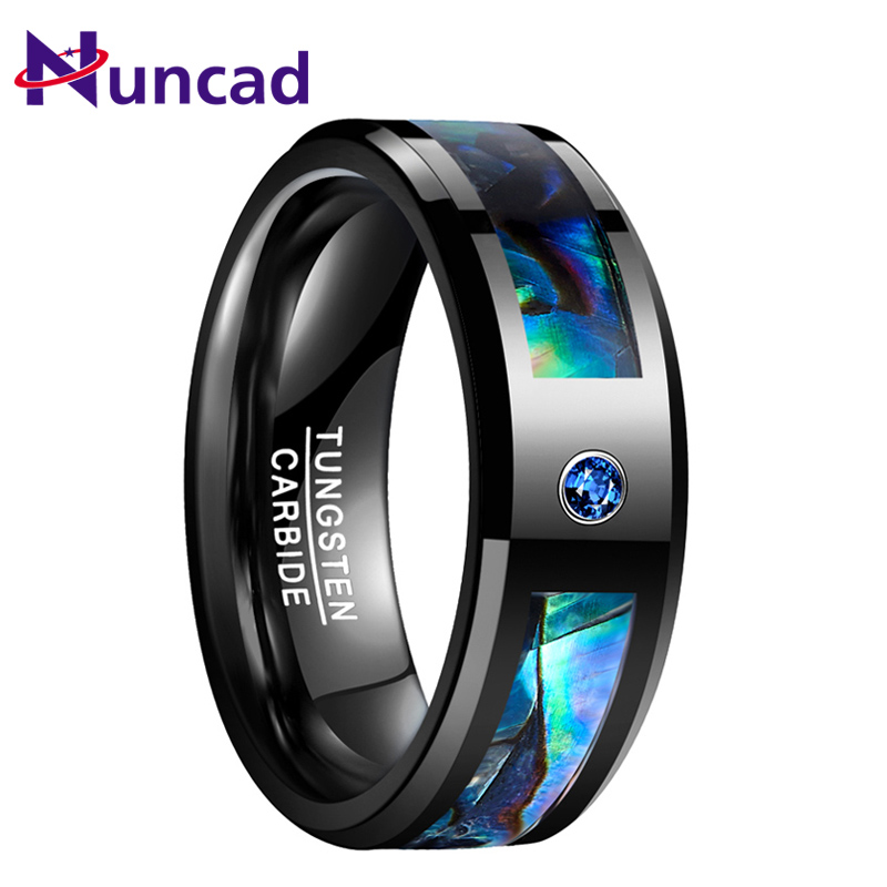 NUNCAD 8mm Men's Abalone Shell and Blue Cubic Zirconia Inlay Tungsten Rings Black Wedding Bands Beveled Edge Size 7-12 image