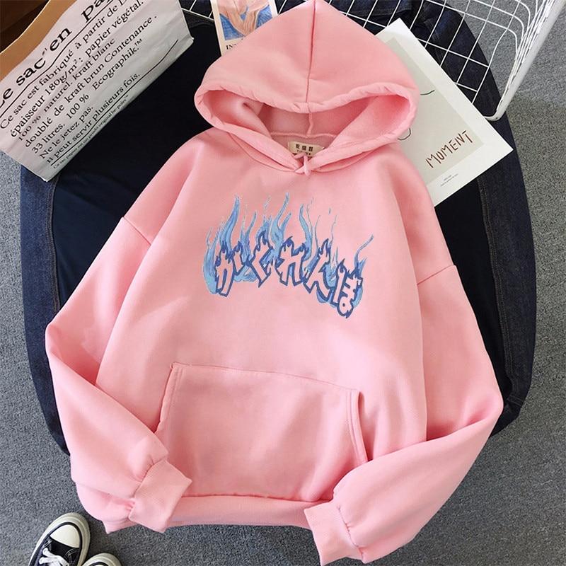 Oversized hoodies womens harajuku plus size women sweatshier fashion print korean style winter coat pink clothing 3