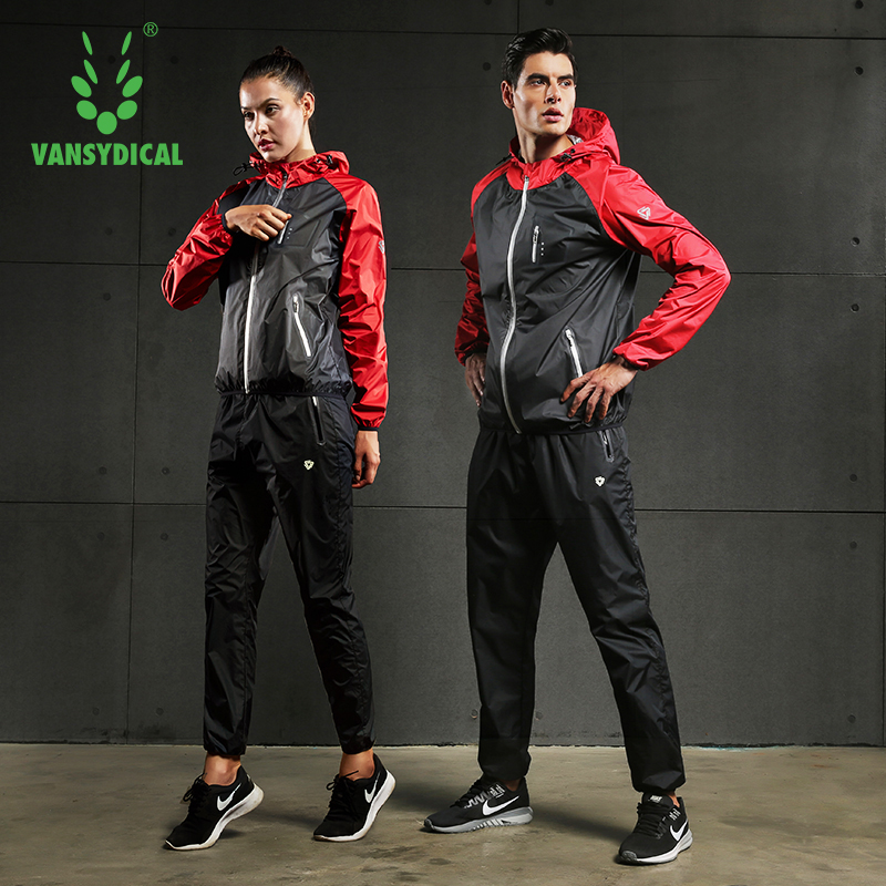 VANSYDICAL Gym Clothing Set Men Women Zipper Hooides Sportswear Running Fitness Training Weight Loss Sweating Sauna Sports Suit