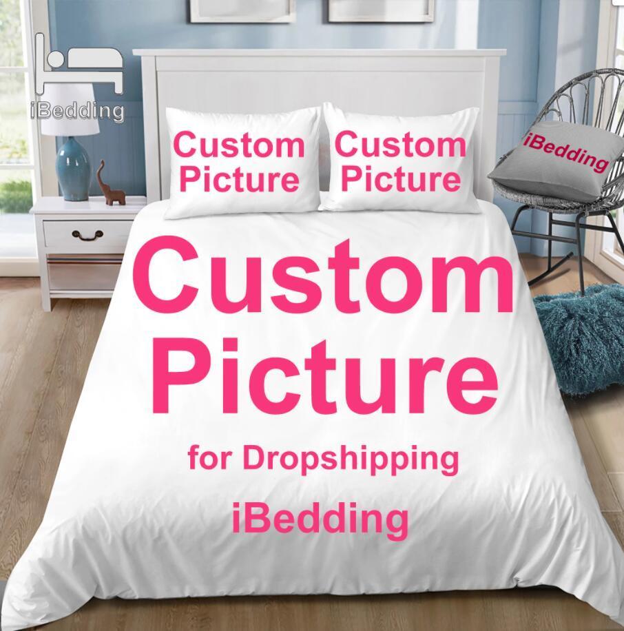 Ibedding imagem personalizada conjunto de cama personalizado 3d impresso capa edredão conjuntos com fronha gêmeo completa rainha rei pod dropshipping