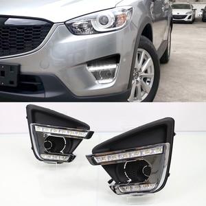 Image 5 - 2 pçs turn signal estilo led carro drl luzes diurnas com buraco da lâmpada de nevoeiro para mazda cx 5 cx5 cx 5 2012 2013 2014 2015 2016