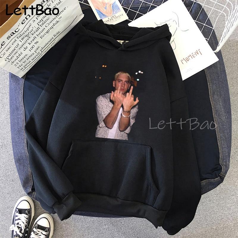 Eminem Cool Black Unisex Hoodies Sweatshirt Hip Hop Rap Punk Style Tops Pullover HipHop Rock Gothic Winter Coat Women Men Hoodie 21