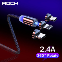 Rock Magnetic USB Cable for iPhone Samsung Xiaomi Cable Micro USB Magnet Charger Wire Phone Charging Cord USB Type C 3in1 Cable cheap LIGHTNING TYPE-C 2 4A Metal USB A 3 in 1 Black Gold Red 360 Degree Rotate Round Magnetic Cable Strong Magnetic USB Cable