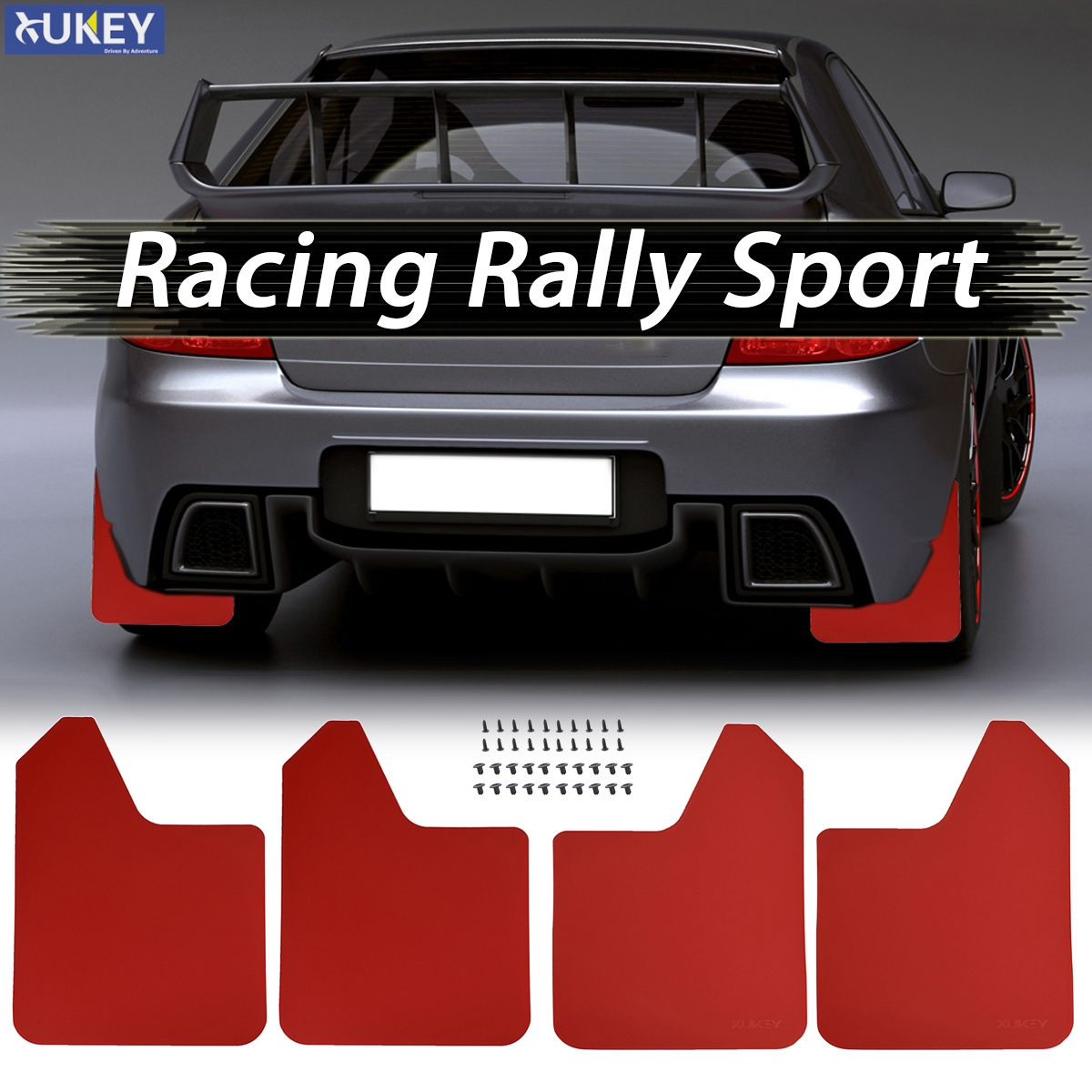car BLACK rally race mudflap set mud flaps splash guards PAIR universal sports