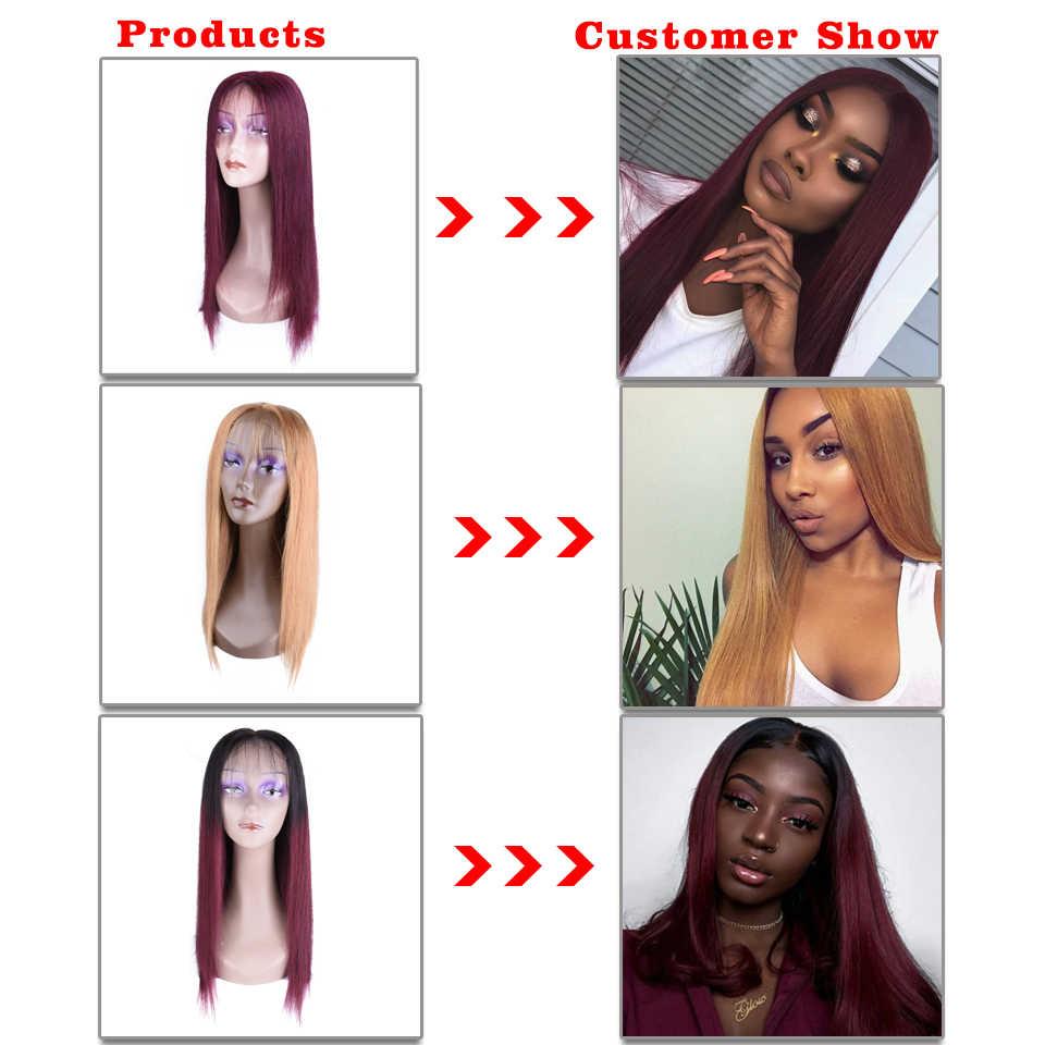 Hairugo 4X4 Vetersluiting Pruiken 99J Brazlian Remy Rechte Kant Sluiting Human Hair Pruiken Voor Zwarte Vrouwen Menselijk haar Pruik Pre Geplukt