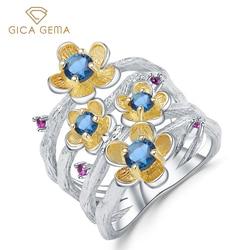 GICA GEMA Природные Лондон Голубой топаз кольца для женщин 925 стерлингового серебра, элегантная форма нижнего края, хорошее ювелирное изделие, п...