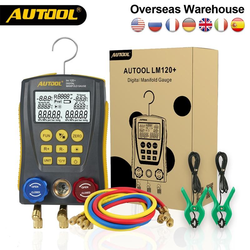 AUTOOL Digital Manifold Kit Air Conditioner Refrigerant Manifold Gauge Leak Manifold HVAC Vacuum Pressure Temperature Tester Pressure & Vacuum Testers    - AliExpress