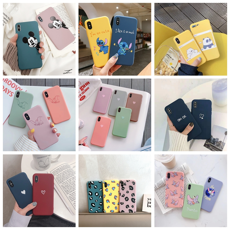 Matte Cartoon Phone <font><b>Case</b></font> For <font><b>iphone</b></font> 6 6s 7 7plus <font><b>X</b></font> XR <font><b>XS</b></font> MAX 5 Soft Heart Love Bear <font><b>Silicon</b></font> TPU Girly Back Cover For <font><b>iphone</b></font> 7 8 image