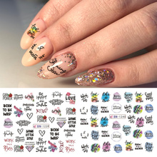 1 Sheet Letter Decals Nail Art Sticker Black Rose Flower Line Design Water Transfer Sliders Manicure Polish Foil LABN1237 1242