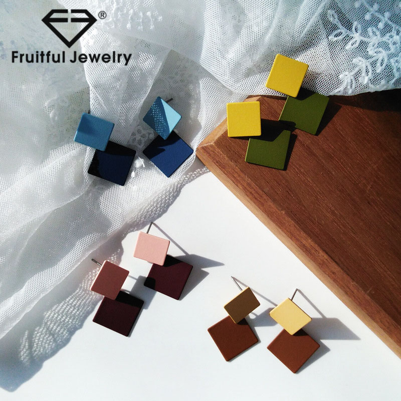 Fruitful Creative Hit Color Geometric Stud Earrings Frosted Round Metal Texture Stitching Disc Pendant Earring For Women