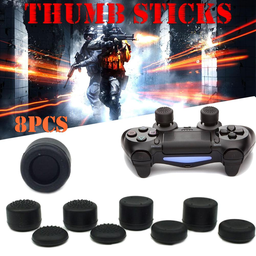 8 PCS Playstation Video Games Controller Accessories Heighten Mushroom Headed Silicone Cap Thumb Stick for PS4 Xbox PS3 X360
