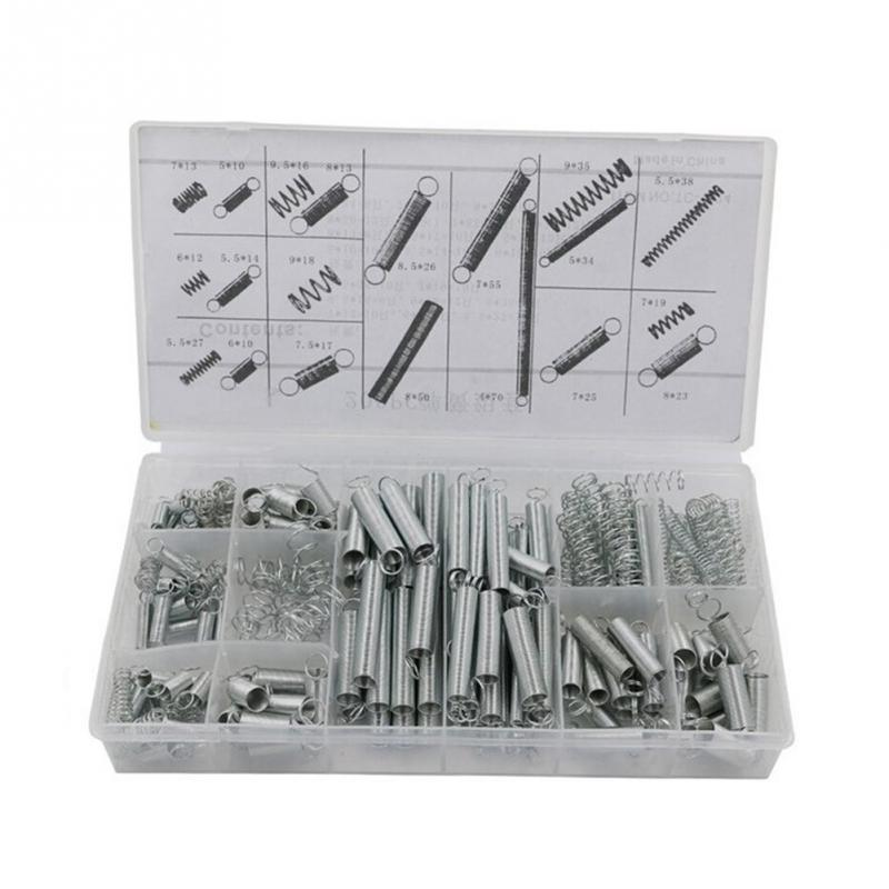 200pcs Accessories Extension And Compression Coil Portable Hardware Tool Spring Set Metal Steel Assorted With Storage Box