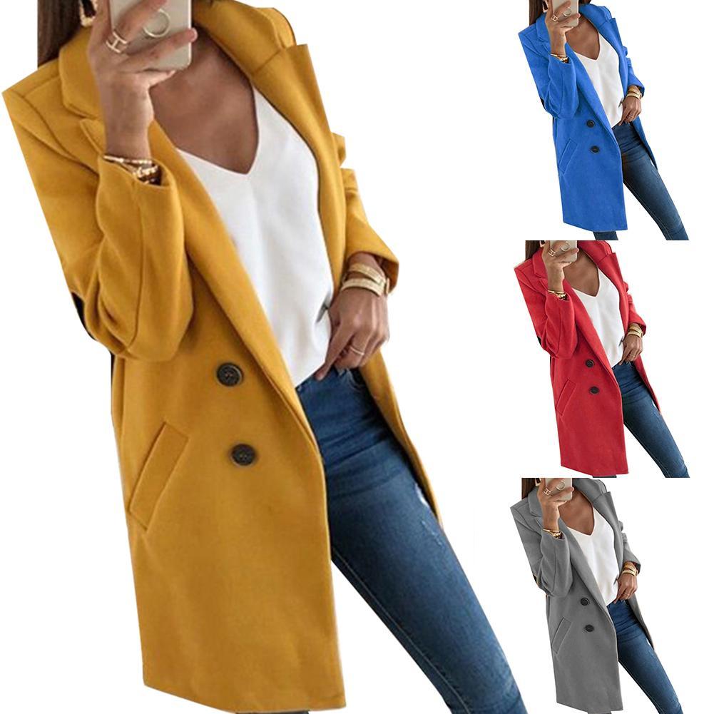 Hot Solid Color Fashion Women Long Sleeve Lapel Slim Fit Pocket Button Overcoat Coat