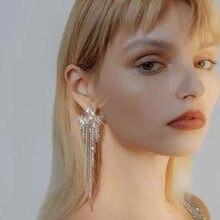 Fashion Simple Metal Rhinestone Five-pointed Star Tassel Earrings Women's Elegant Popular Banquet Jewelry Accessories