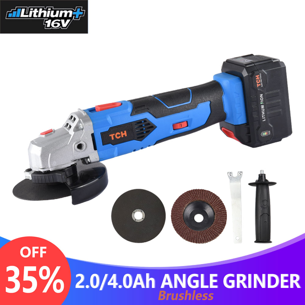 TCH 16V Cordless Brushless Lithium Ion Angle Grinder Grinding Power Tool Cutting and Grinding Machine Polisher 100/115mm Wheel-in Grinders from Tools    1