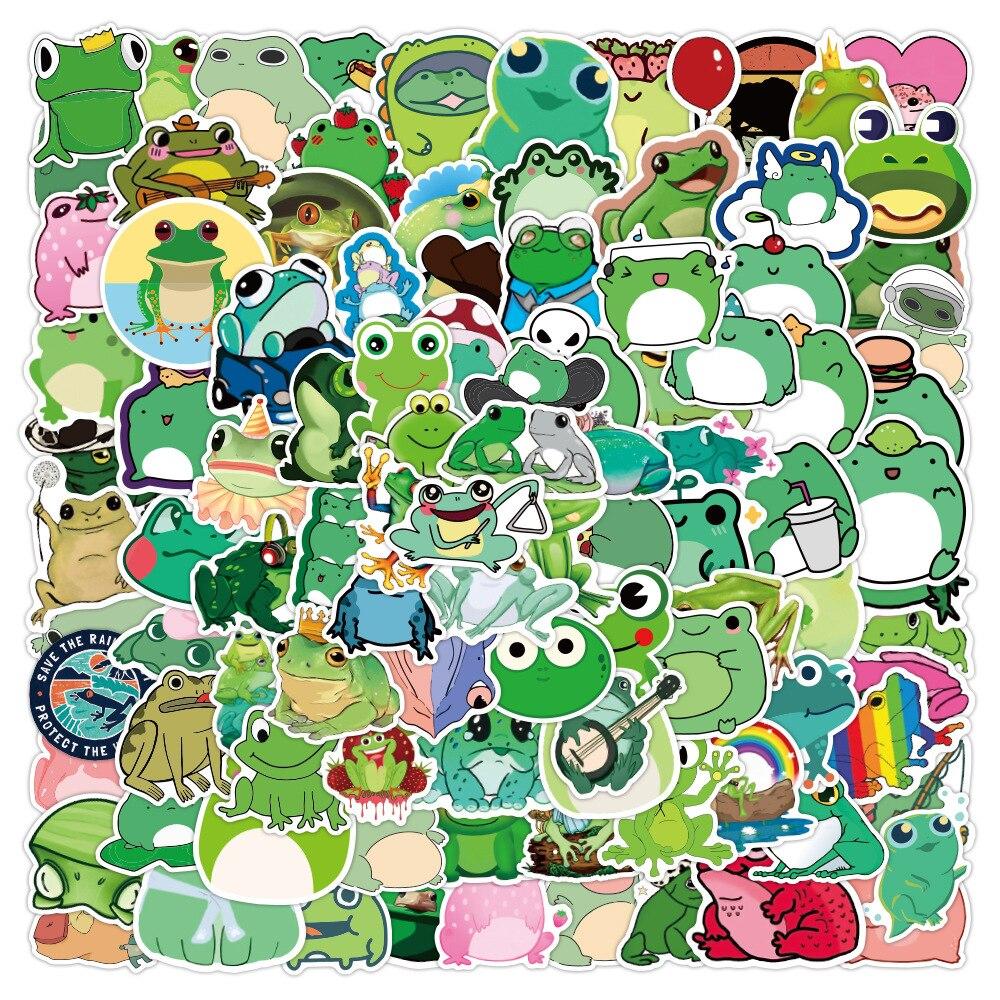 10/30/50PCS חמוד Cartoon צפרדע גרפיטי נייד טלפון נייד מטען לרכב קישוט עמיד למים מדבקות צעצוע סיטונאי