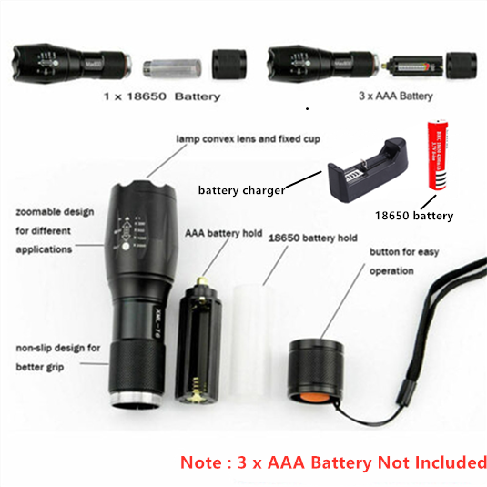 ไฟฉาย LED แบบชาร์จไฟได้ Abay XML T6 linterna ไฟฉาย 18650 แบตเตอรี่ 5 โหมดกันน้ำกลางแจ้ง Camping ไฟฉาย LED ที่มีประสิทธิภาพ