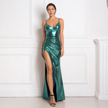 Hollow Out Shiny Maxi Dresses Backless Pleated Split Front Floor Length Bodycon Sleeveless Backless Mermaid Dress