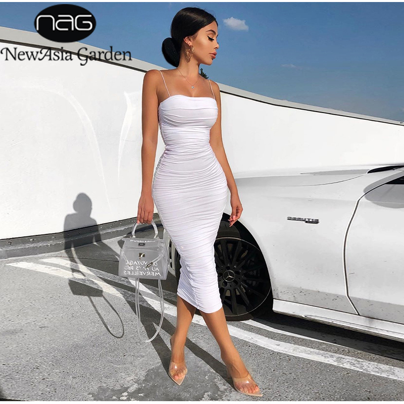 NewAsia 2 Layers White Summer Dress Women 2020 Elegant Ruched Maxi Dress Pink Party Long Dress Sexy Dresses Woman Party Night(China)
