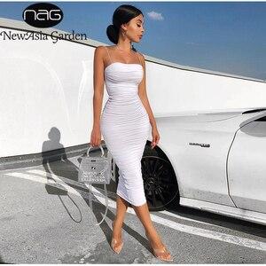 Image 1 - NewAsia 2 warstwy biała letnia sukienka kobiety 2020 elegancka Ruched Maxi sukienka różowa strona długa sukienka Sexy sukienki kobieta Party Night