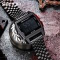 Часы наручные SANDA мужские электронные, спортивные Водонепроницаемые светодиодные цифровые в стиле милитари, с ремешком из нержавеющей стал...