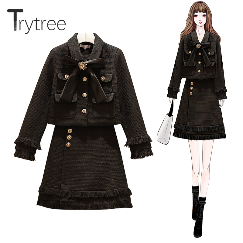 Trytree Autumn Winter Two Piece Set Casual Turn-down Collar Bow Pockets Button + Skirt Mini Tassel Fashion A-line 2 Piece Set