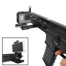 CNC Aluminium Gun Seite Schiene Smartphone Adapter Halter Halterung für Gopro Hero 8 7 6 5 SJCAM Yi 4K SONY Action Kamera Zubehör Set