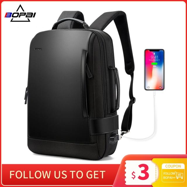 BOPAI 남자 배낭 15.6 인치 노트북 Bagpack 블랙 확장 가능한 Mochila 남자 USB 충전 남성 여행 나일론 배낭