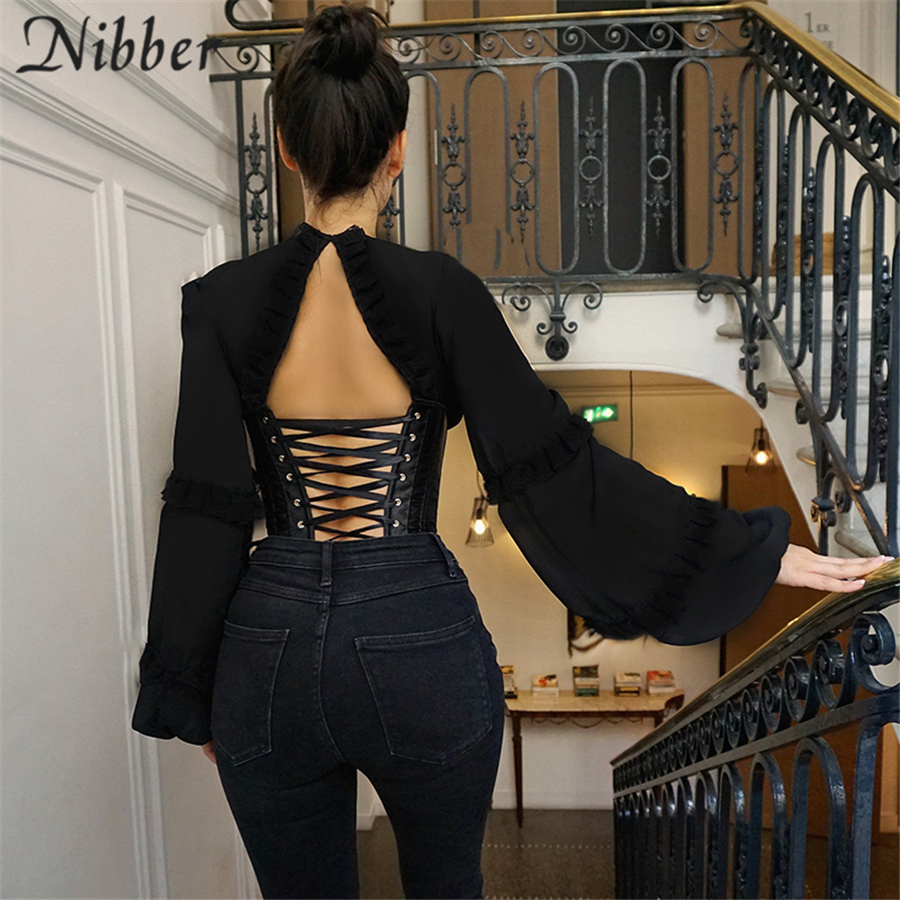 Nibber Corset Patchwork Lantern Sleeve Design T-Shirt For Women Tops 2021 Spring Autumn Elegant Bandage Halter Design Top Female