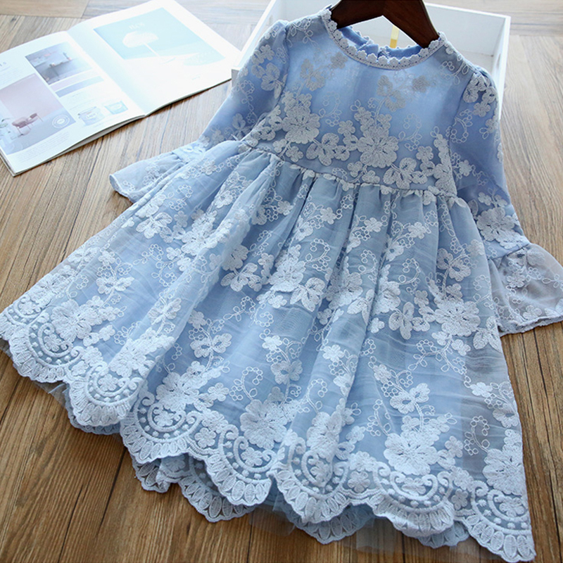 Winter Autumn Girl Lace Embroidery Long Sleeve Dress Children Wedding Birthday Party Vestidos Kids Holiday Casual Wear Clothing 2