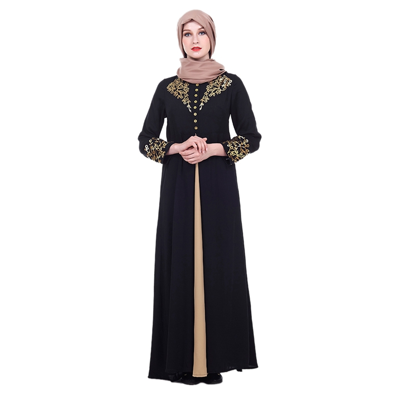 Muslim Elegant Dress Women Abaya Dubai Kaftan Muslim Flowers Hot Stamping Dress Long Sleeve Loose Dress Islamic Female Clothing