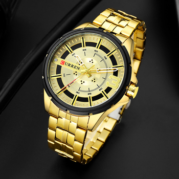 CURREN 8333 Gold Watches for Men Business Men's Clock Quartz Stainless Steel Waterproof With Box