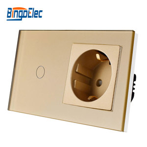 Image 3 - Bingoelec Hot Sale 1Gang 1Way Touch Switch With EU Type Socket,16A Germany Socket, Crystal Glass Panel Light Switch 86*157mm