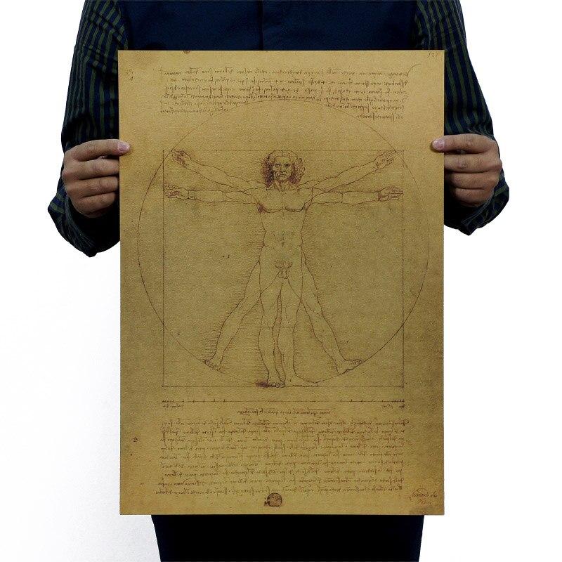Leonardo Da Vinci Manuscripts Vitruvian Man Vintage Kraft Paper Movie Poster School Decor Wall Decals Art DIY Retro Decor Prints